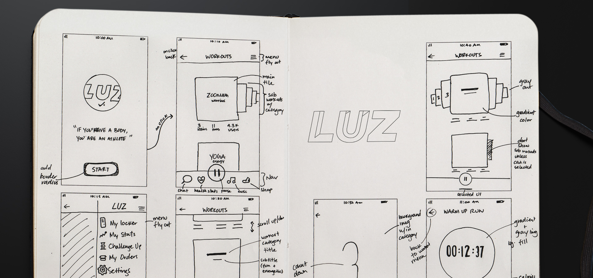 LUZ App wireframe sketches
