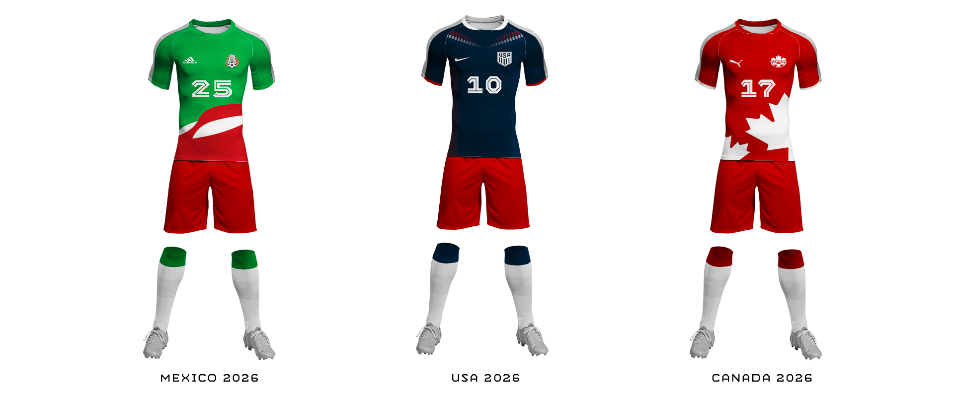 Mexico USA Canada World Cup 2026 Uniforms